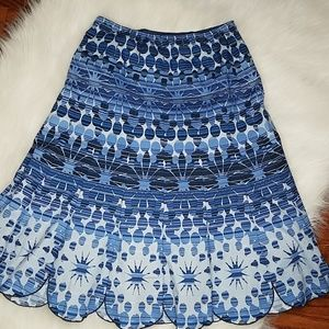 Coldwater Creek Abstract Scalloped Bottom Skirt